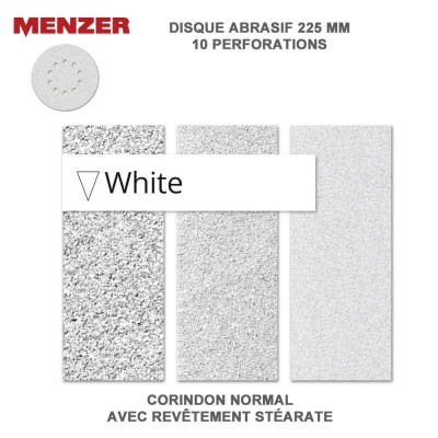 Disque abrasif  225 mm-10 Trous-White 5 ou 25 pièces