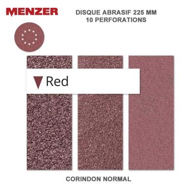 Disque abrasif  225 mm-10 trous-Red 5 ou 25 pièces