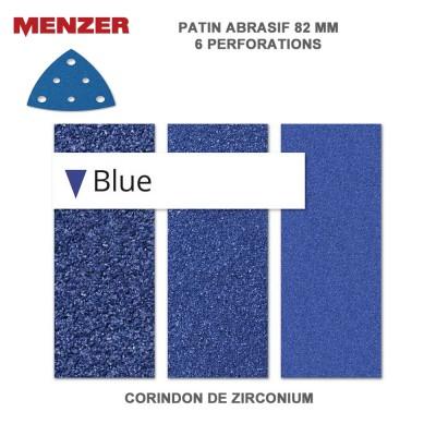 Patin abrasif 82 x 82 mm-6 Trous Blue 25 pièces