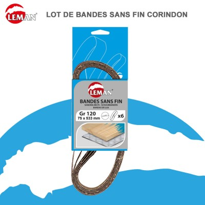 Bandes abrasives sans fin corindon 75 X 533 mm - Lot de 3