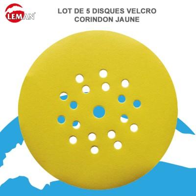 Disque abrasif velcro corindon 225 mm-6+1 trous - 5 pces