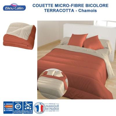 Couette Microfibre Bicolore Terracotta Chamois