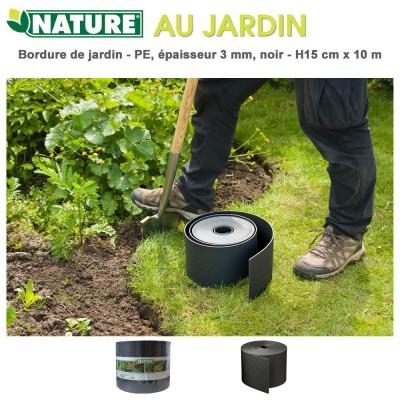 Bordure en polyéthylène recyclé noir - H 15 cm x 10 m