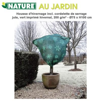 Housse d'hivernage en toile de jute tissé - Dia 75 cm x H 100 cm