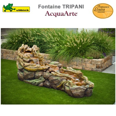 Fontaine cours d'eau de jardin polyrésine complète Tripani
