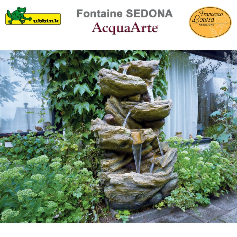 Fontaine cours d\'eau de jardin polyrésine complète Sedona