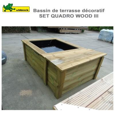 Bassin préfabriqué de jardin complet set Quadro Wood III