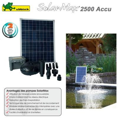 Pompe pour bassin aquatique solaire SolarMax 2500 accu