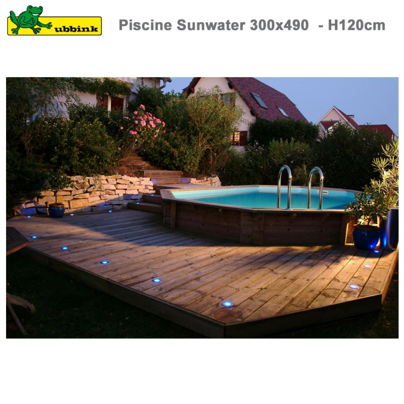 Piscine Bois Sunwater 300 X 490 H120 Cm Liner Beige