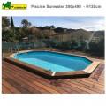 Piscine bois Sunwater 300 x 490 - H120 cm - liner beige