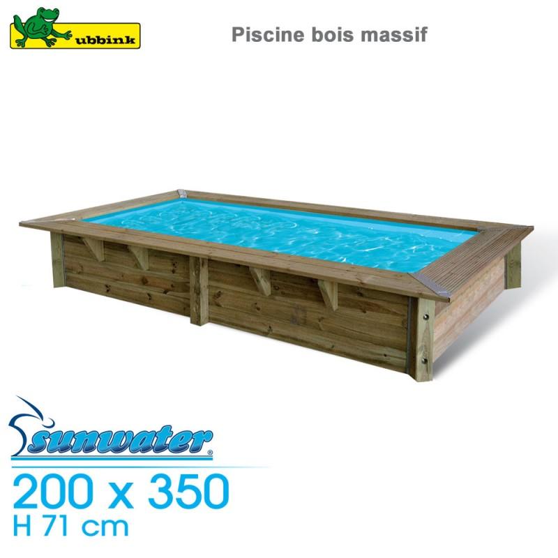 Piscine Bois Sunwater 200 X 350 H 71cm Liner Bleu