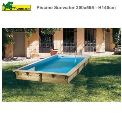 Piscine bois Sunwater 300 x 555 - H 140 cm - liner bleu