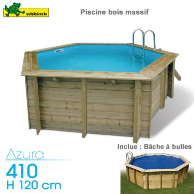 Piscine bois Azura 410 - H 120 cm - avec bache à bulles