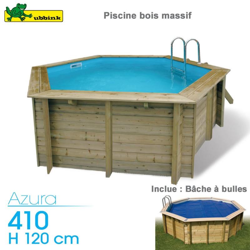 Piscine bois Azura 410 - H120cm - avec bache à bulles