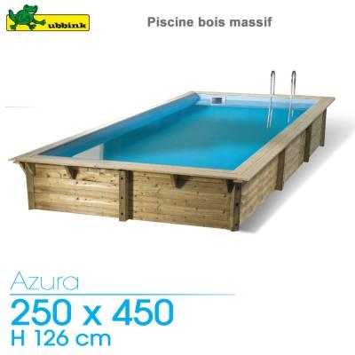 Piscine bois Azura 250 x 450 - H 126 cm - liner bleu