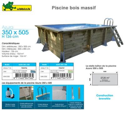 Piscine bois Azura 350 x 505 - H 126 cm - liner bleu