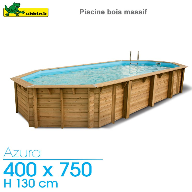 Piscine bois Azura 400 x 750 - H 130 cm - liner bleu