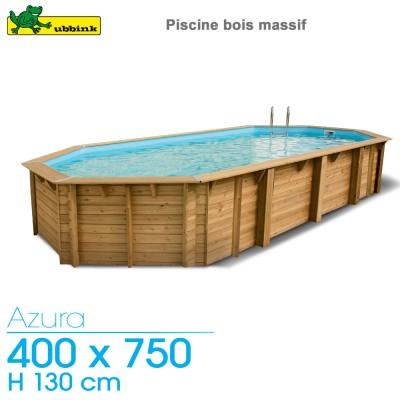 Piscine bois Azura 400 x 750 - H 130 cm - liner beige