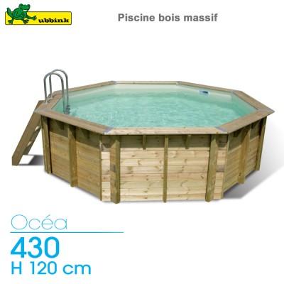 Piscine bois Ocea 430 - H 120 cm - liner gris