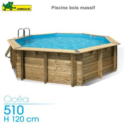 Piscine bois Ocea 510 - H 120 cm - liner bleu
