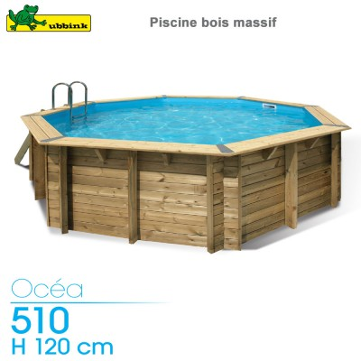 Piscine bois Ocea 510 - H 120 cm - liner Gris