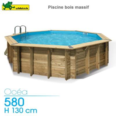 Piscine bois Ocea 580 - H 130 cm - liner bleu