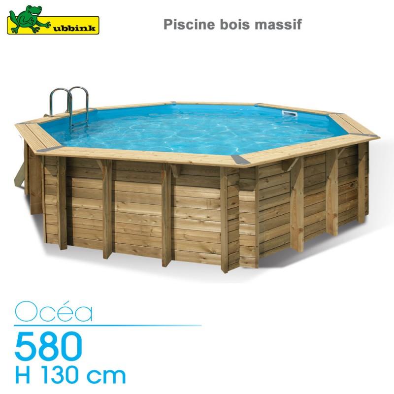Piscine bois Ocea 580 - H 130 cm - liner beige