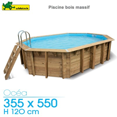 Piscine bois Ocea 355 x 550 - H 120 cm - liner bleu