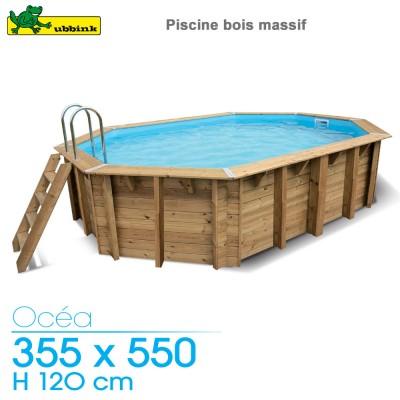 Piscine bois Ocea 355 x 550 - H 120 cm - liner beige