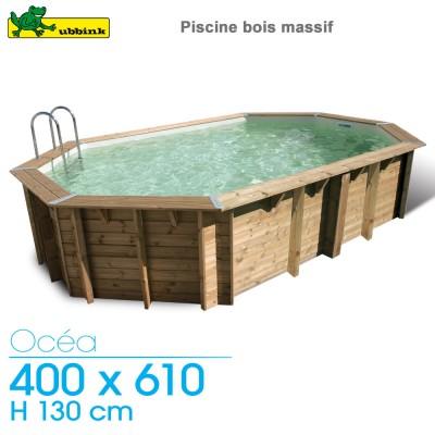 Piscine bois Ocea 400 x 610 - H 130 cm - liner bleu