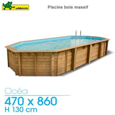 Piscine bois Ocea 470 x 860 - H 130 cm - liner bleu