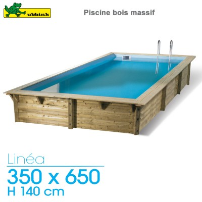 Piscine bois Linea 350 x 650 - H 140 cm - liner gris