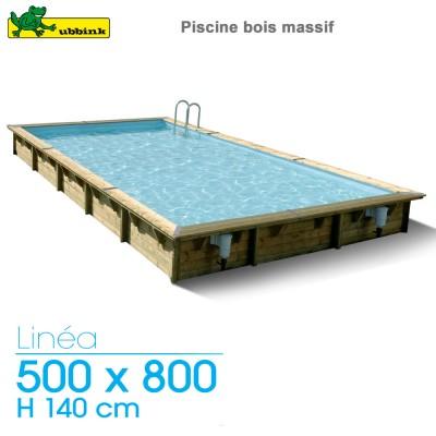 Piscine bois Linea 500 x 800 - H 140 cm - liner bleu