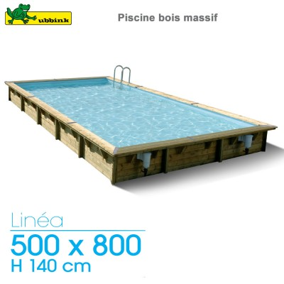 piscine bois linea 500 x 800 h 140 cm liner beige. Black Bedroom Furniture Sets. Home Design Ideas