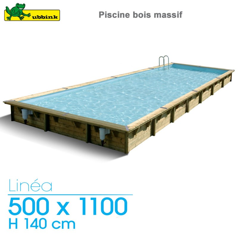 Piscine bois Linea 500 x 1100 - H 140 cm - liner bleu