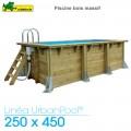 Piscine bois Urban Pool 250 x 450 - H 140 cm - liner bleu