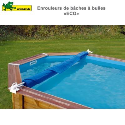 Enrouleur de bâche à bulles piscine bois et métallique