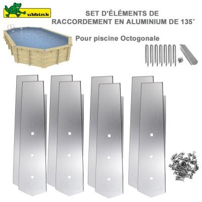 Kit 8 pièces finition Alu pour margelles de piscine Octogonale