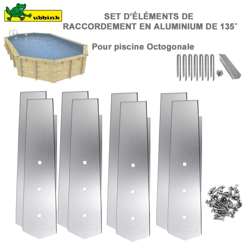 kit 8 pi ces finition alu pour margelles de piscine octogonale. Black Bedroom Furniture Sets. Home Design Ideas