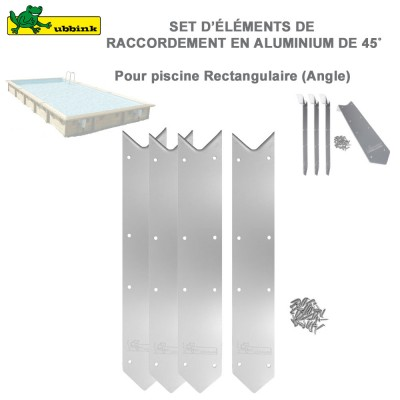 Kit 4 margelles finition Alu angle 45° piscine rectangulaire