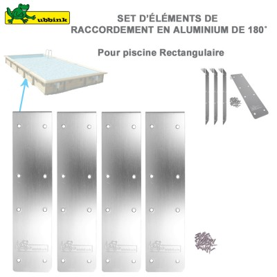 Kit 4 margelles finition Alu droit de piscine rectangulaire