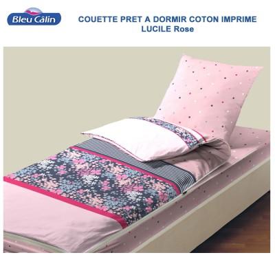 Couette de lit coton - Caradou 1 Pers. Lucile-Rose