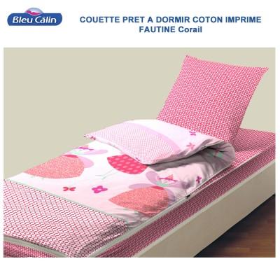 Couette de lit coton - Caradou 1 Pers. Faustine-Corail