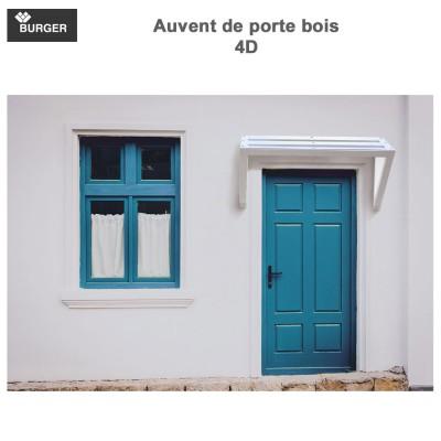 Auvent porte d'entrée bois 4D - L130 x P70 x H68 cm