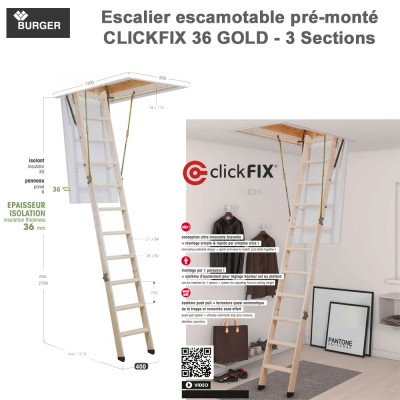 Escalier escamotable Clickfix 36 Gold 12 marches