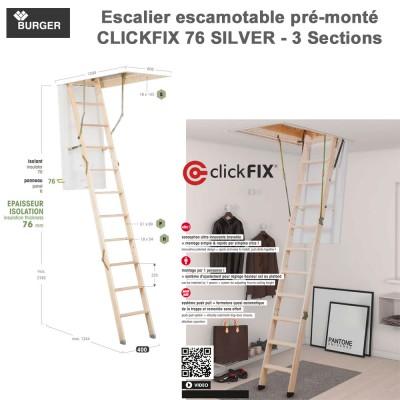 Escalier escamotable Clickfix 76 Silver 12 marches