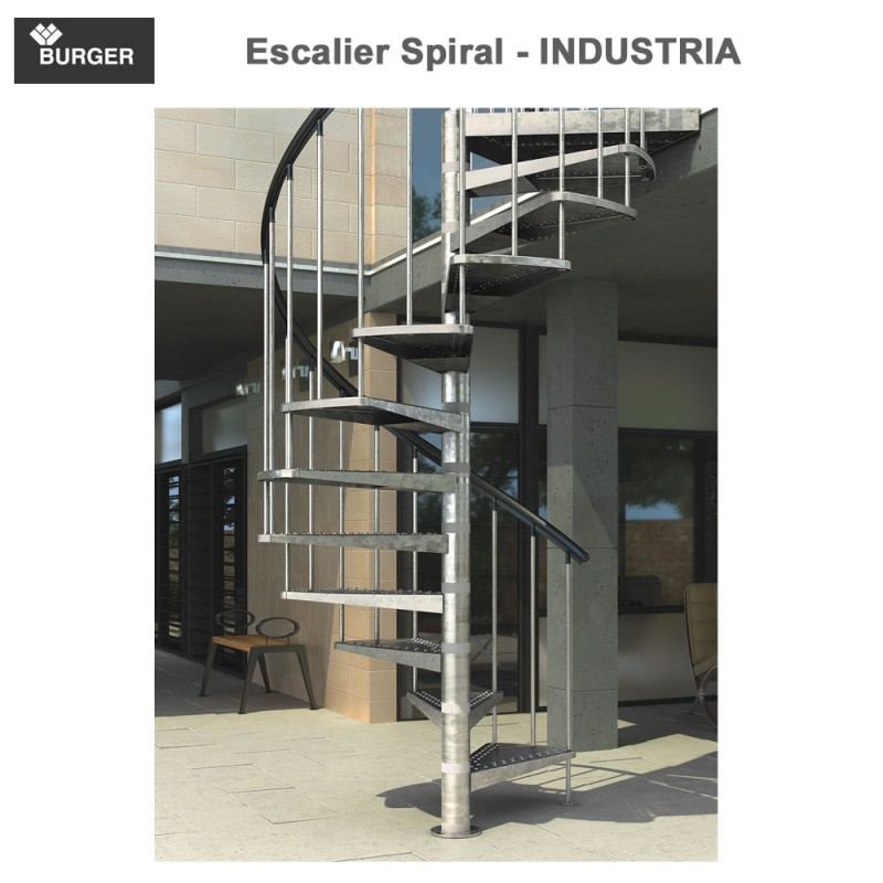 Escalier hélicoïdal spiral Industria - 15 marches