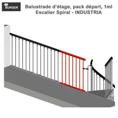 balustrade d'étage, pack départ, 1ml - Industria