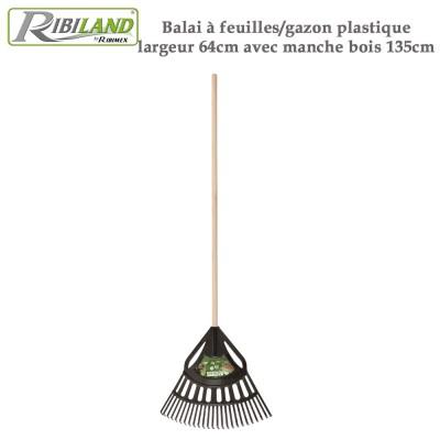 Balai à feuilles/gazon plastique largeur 64cm manche bois 135cm