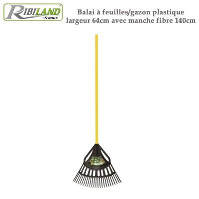 Balai à feuilles/gazon plastique largeur 64cm avec manche fibre 140cm